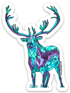 Caribou - Double Shovel Caribou Sticker - Jewel Tones