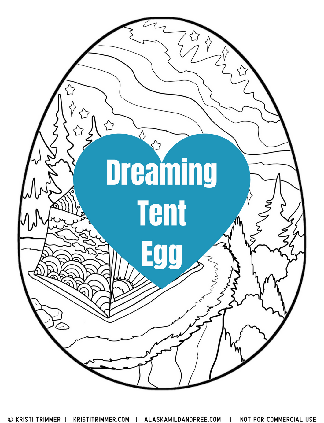 Color: Easter Eggs - Dreaming Tent Camping Coloring Page