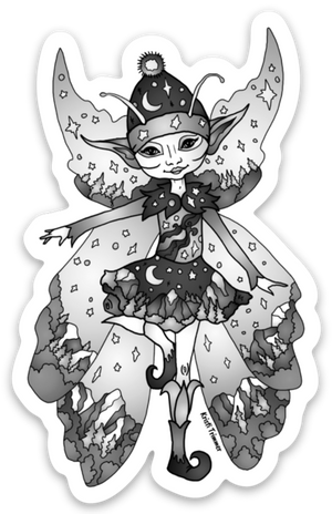Fairy - Black & White Fairy Sticker