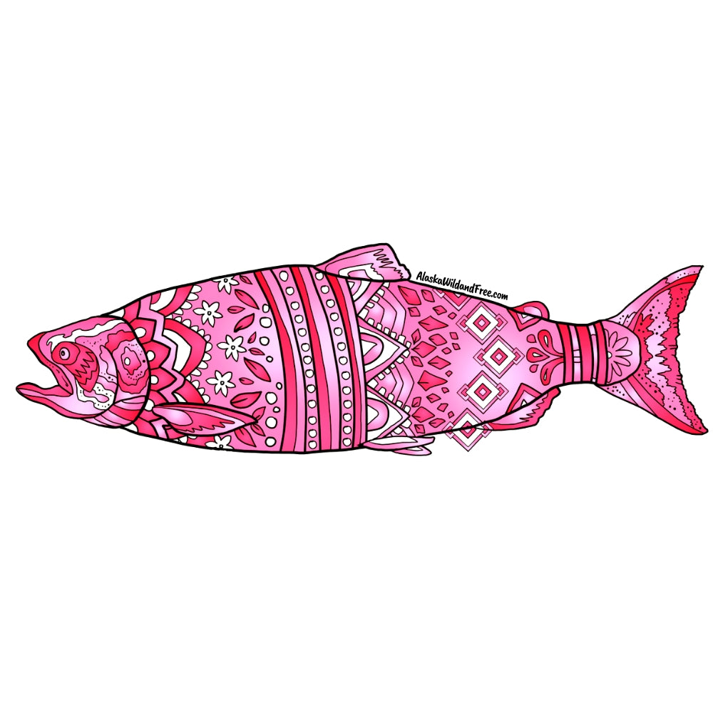 Fish - Pink King Salmon Sticker