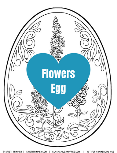 Color: Easter Eggs - Flowers Coloring Page