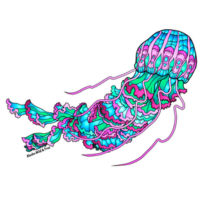 Jellyfish - Pink and Green Sticker