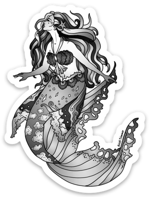 Mermaid - Black & White Sticker