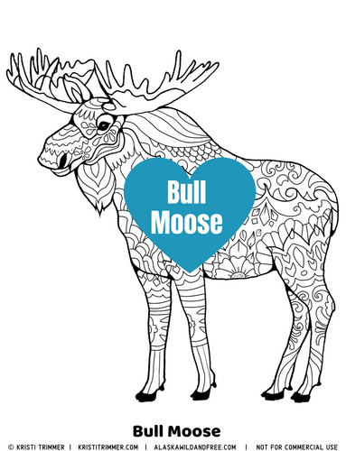 Color: Bull Moose Coloring Page