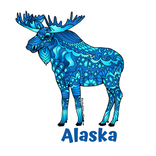 Moose - Majestic Blue Moose + Alaska Magnet