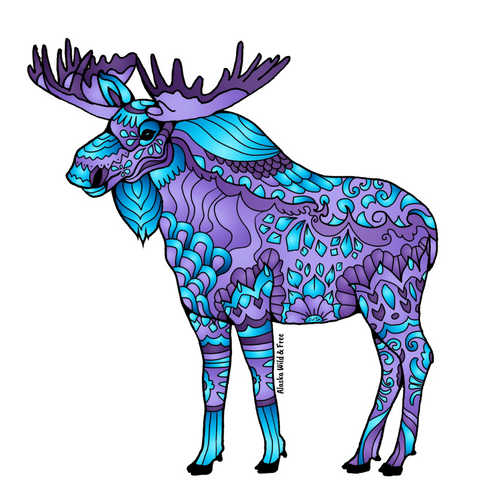 Moose - Majestic Purple & Blue Moose Magnet