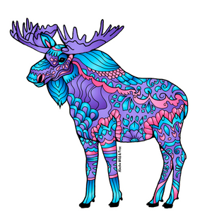Moose - Majestic Purple, Blue & Pink Moose Sticker
