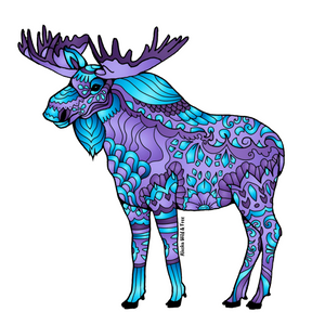Moose - Majestic Purple & Blue Moose Sticker