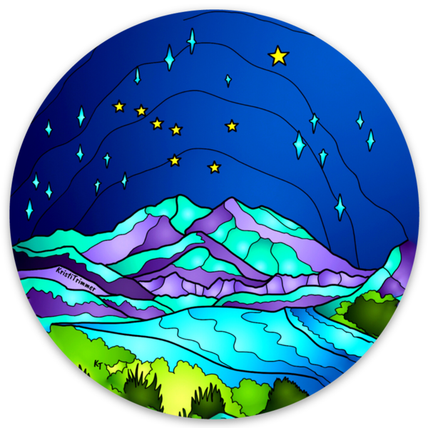 Mountains - Denali Mountains Circle Sticker
