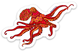 Octopus - Red & Orange Sticker