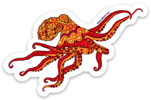 Octopus - Red & Yellow Sticker