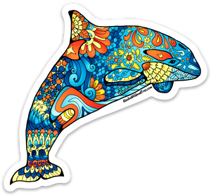 Whale - Blue & Orange Orca Whale Sticker