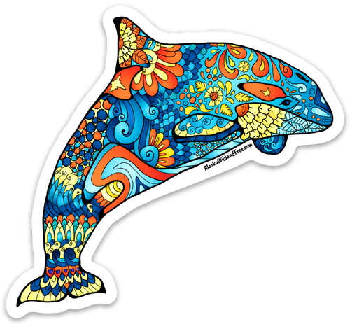 Whale - Blue & Orange Orca Whale Magnet