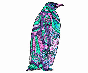 Penguin - Purple Sticker