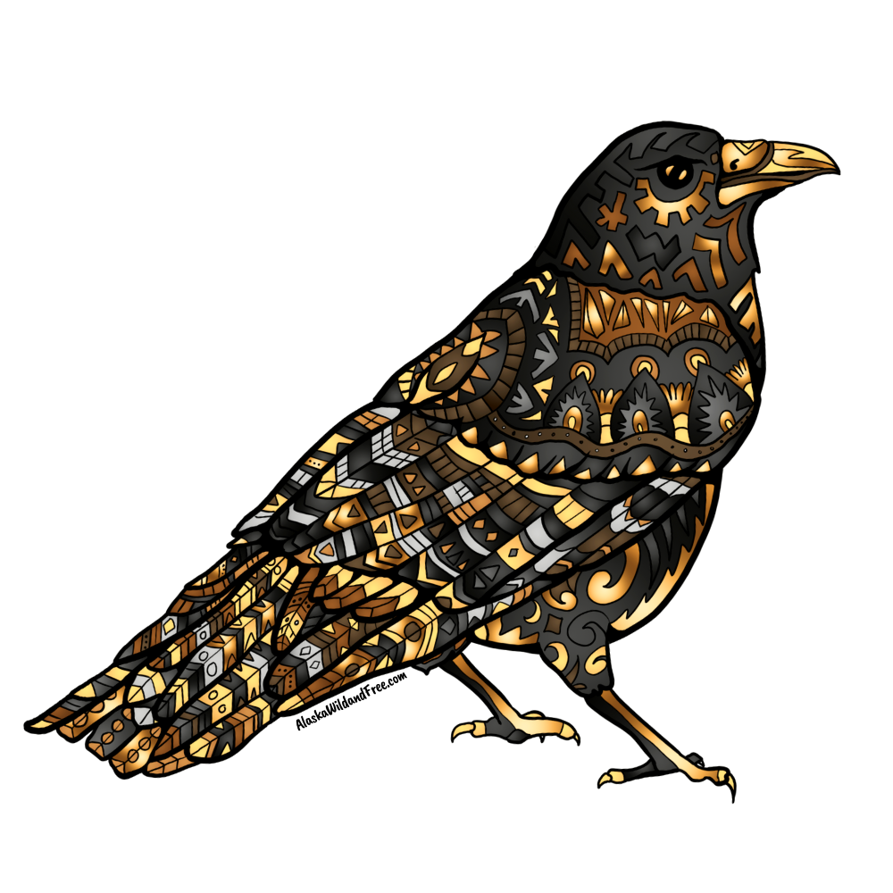 Bird - Raven - Black & Gold Sticker