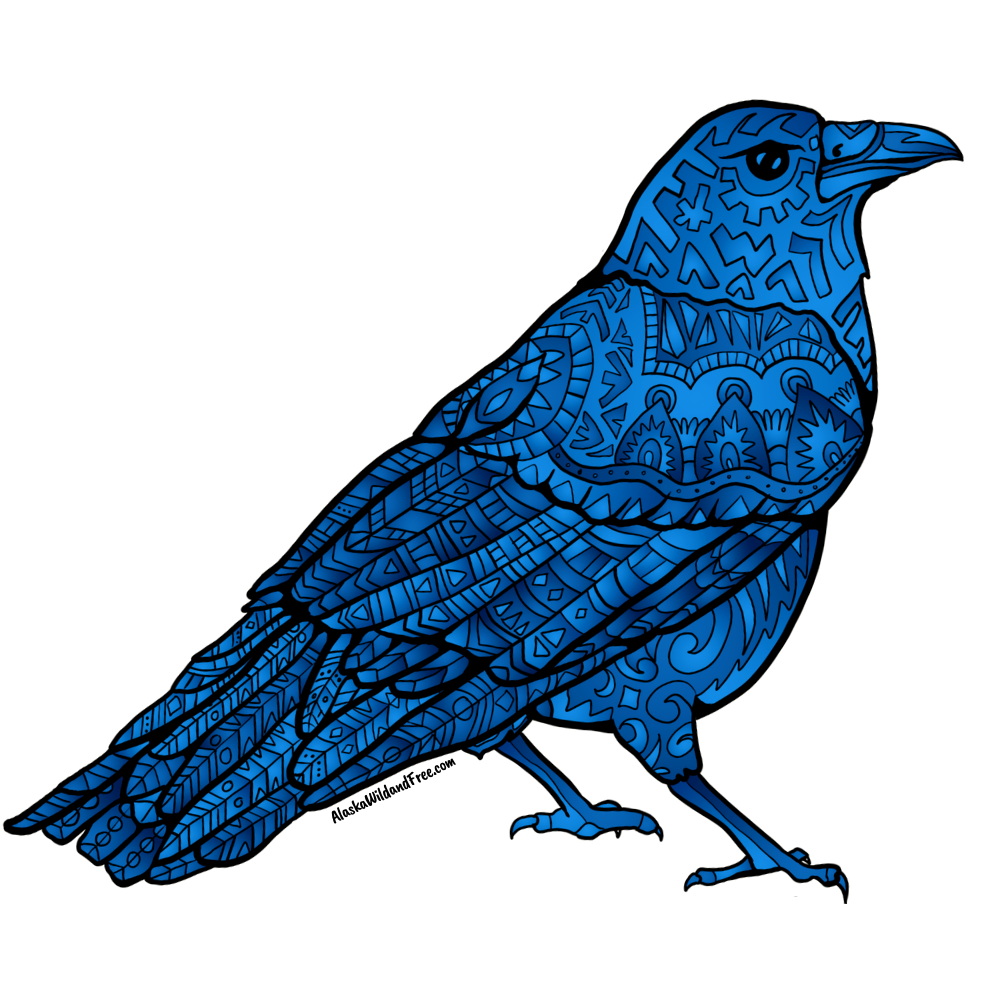 Bird - Royal Blue Raven Sticker