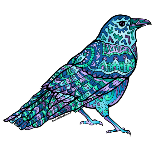 Bird - Blue & Purple Raven Magnet