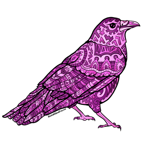 Bird - Pink Raven Sticker