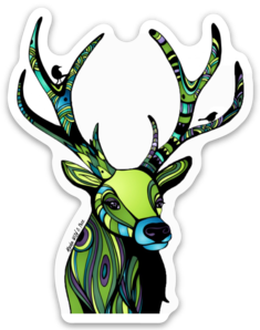 Deer - Regal Green Deer Sticker