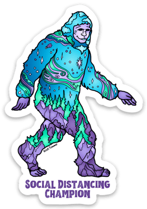 Sasquatch - Blue Social Distancing Champion Sticker