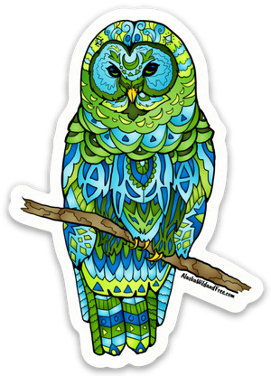 Bird: Owl - Blue & Green Snowy Owl Sticker