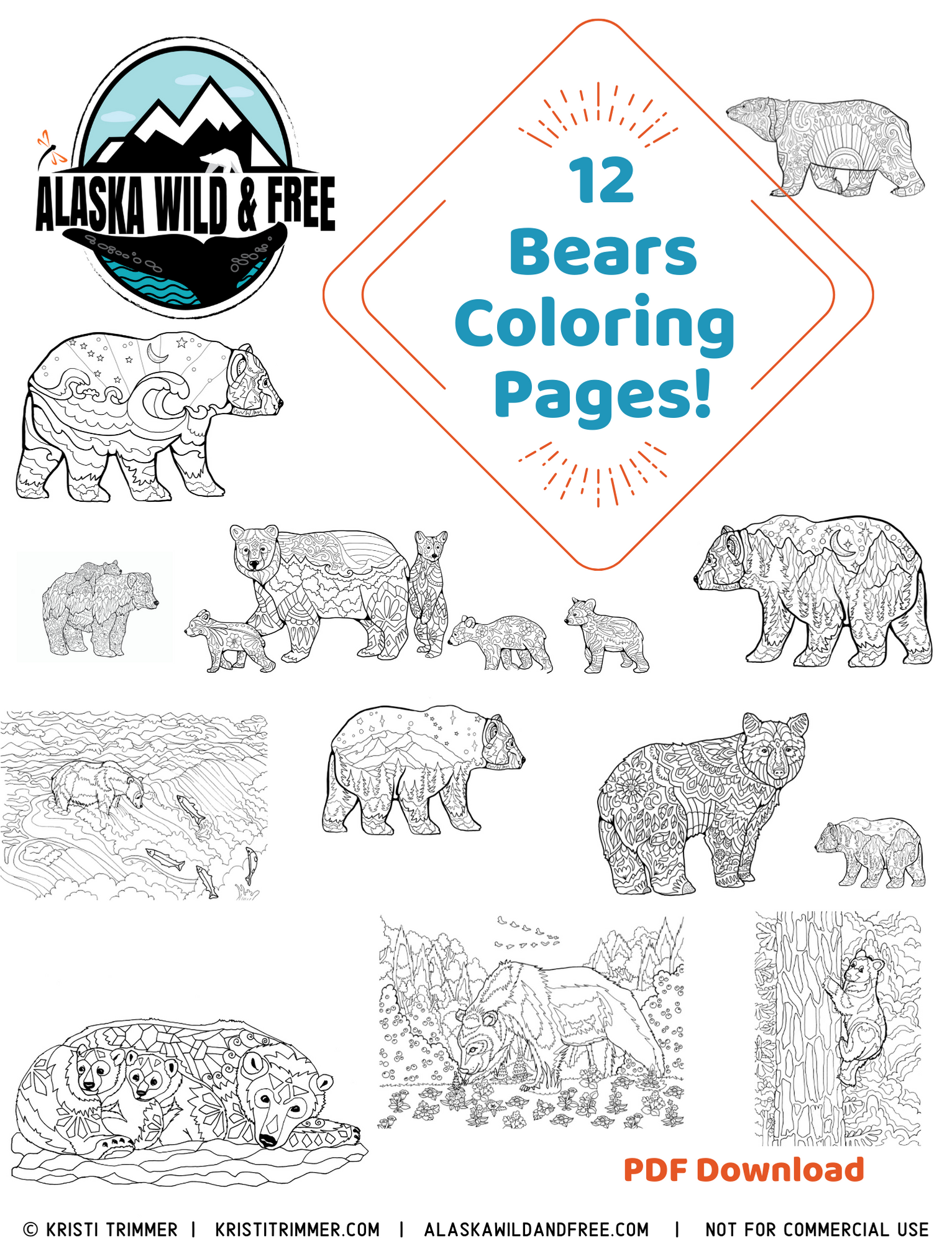 alaska Coloring Pages | Alaska Coloring Page by Doodle Art Alley ... | 1999x1532