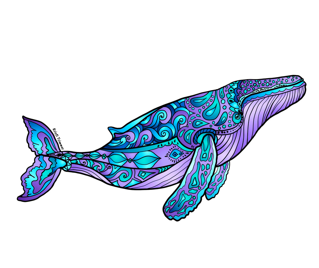 Whale - Purple Humpback Whale Sticker