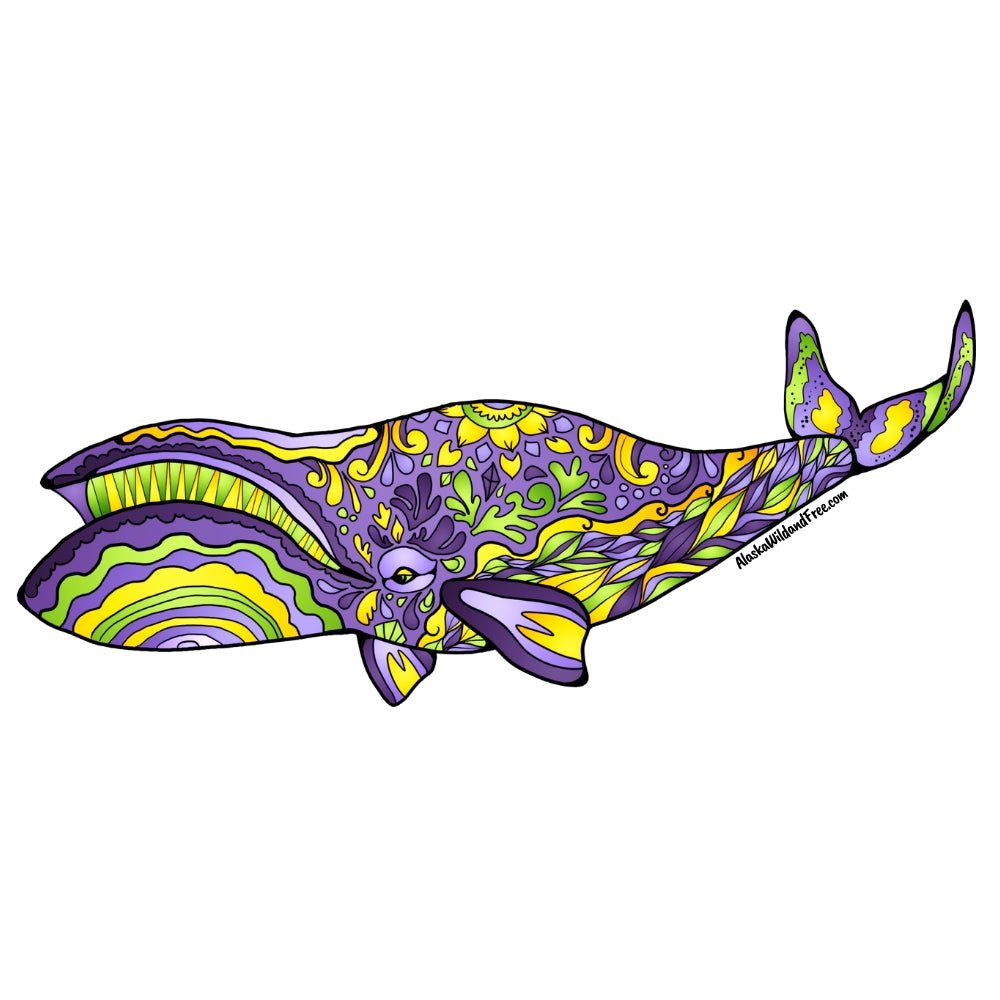 Whale - Purple & Yellow Bowhead Whale