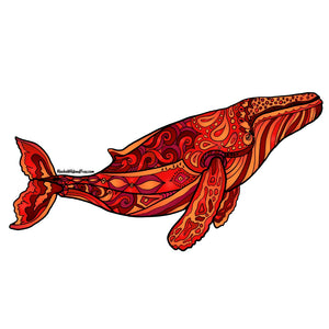 Whale - Red Humpback Whale Sticker