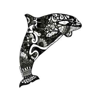 Whale - Black & White Orca Whale Sticker