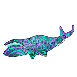 Whale - Green & Purple Bowhead Whale Sticker