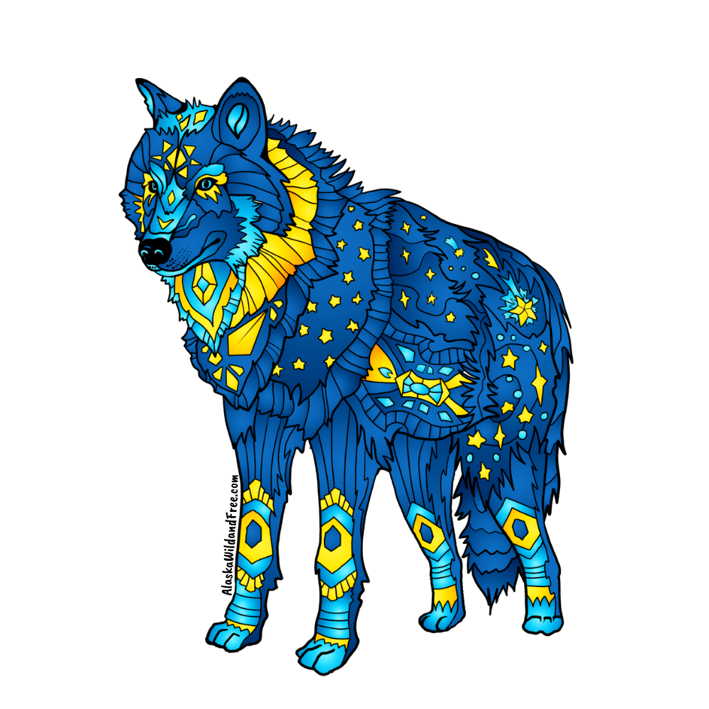 Wolf - Blue & Yellow Wolf Magnets