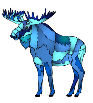 Moose - Blue Geo Moose Sticker