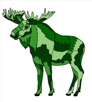 Moose - Green Geo Moose Sticker