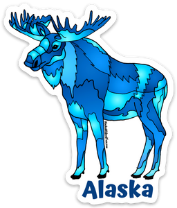 Moose - Geo Blue + Alaska Sticker