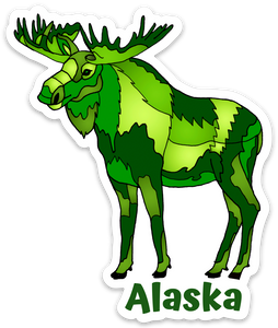 Moose - Geo Green + Alaska Sticker