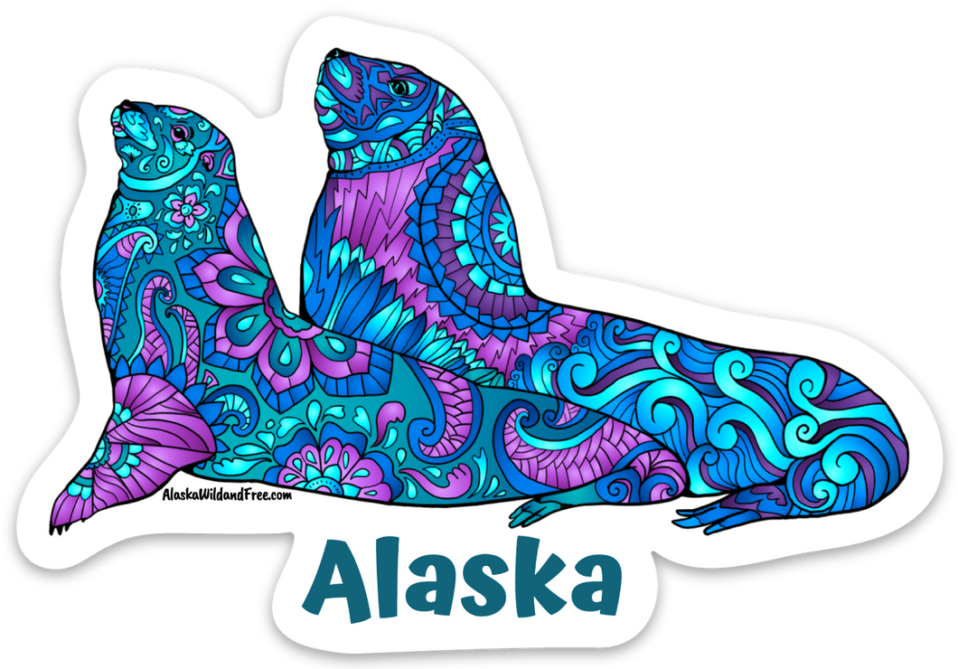Stellar Sea Lions Sticker - Alaska
