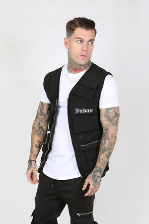 JUDAS SINNED COUVER NYLON POCKET MEN'S UTILITY VEST - BLACK