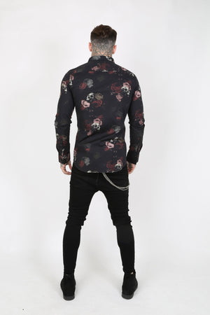 EVE SKULL PRINT SMART MEN'S SHIRT - BLACK