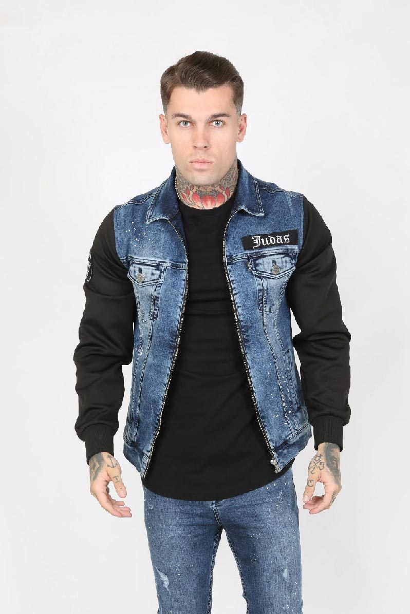 JUDAS SINNED MOTO PAINT SPLATTER TRUCKER MEN'S JACKET - BLUE VINTAGE WASH