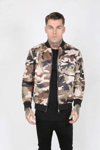 JUDAS SINNED RAID CAM NYLON MEN'S BOMBER JACKET - CAMOUFLAGE