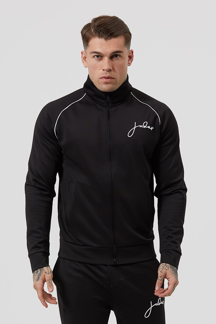 THRU SIGNATURE ZIPPED MEN'S TRACK SUIT TOP - BLACK