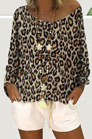 Off-Shoulder Leopard Printed Long Sleeve Shirts