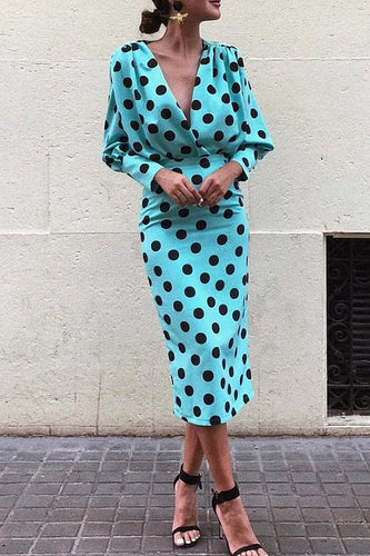 Dots Print Plunge Lantern Sleeve Bodycon Dress
