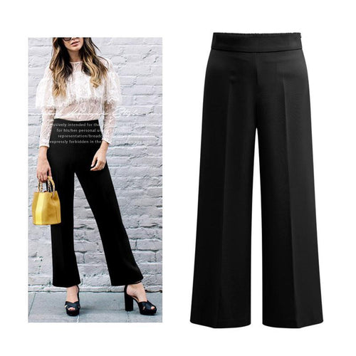 Solid Color Straight Leg Wide Casual Pants