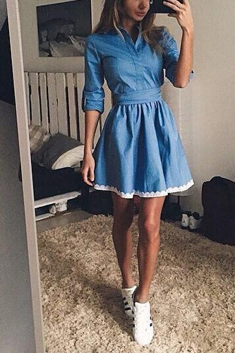 Fashion Plain Slim Long Sleeve Vneck Line Skater Dress