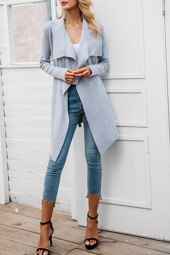 Fashion Plain Lace-Up Long Sleeve Long Coat