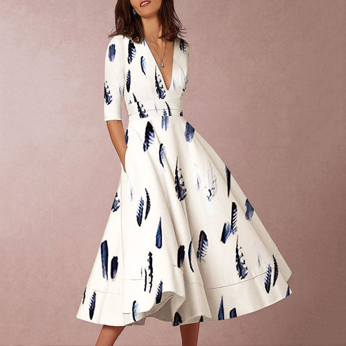 Sexy Elegant Deep V Collar Feather Floral Printed Evening Dress