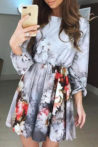 Sexy Floral Round Neck Puff Long Sleeve Skater Dress