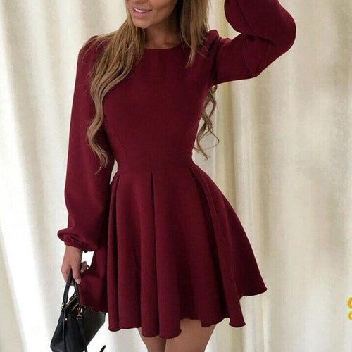 Women's Round Neck Princess Puff Sleeve Dress